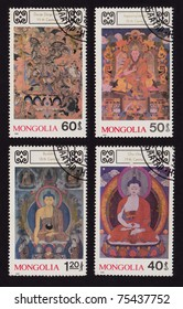 MONGOLIA - CIRCA 1990: Stamp Set printed in Mongolia shows Dorje Dags Dan, Agwanglobsan, Buddha, Chu Lha. Series is devoted to Buddhist deities, circa 1990