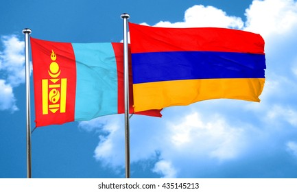 Mongolia flag with Armenia flag, 3D rendering