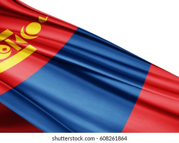 Mongolia   flag of silk with copyspace for your text or images and white background-3D illustration