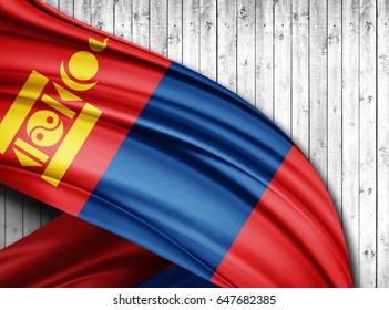 Mongolia flag of silk with copyspace for your text or images and wood  background -3D illustration