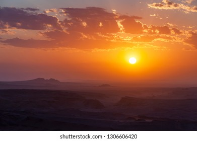 Mongolia. Gobi Desert. Natural boundary Hermen-Tsav. Sunset, gold hour