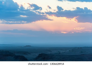 Mongolia. Gobi Desert. Natural boundary Hermen-Tsav. Sunset, gold hour.