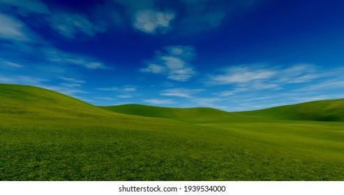 Mongolia grassland blue sky and clouds