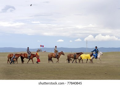 MONGOLIA - JULE 10: Annual Nadaam Festival, traditional walk of the champion horse on July 10, 2009 in Central Mongolia.