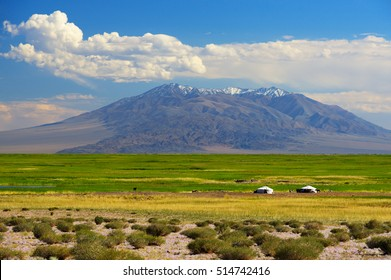 Mongolia landscape with nomad yurts