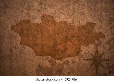 mongolia map on a old vintage crack paper background