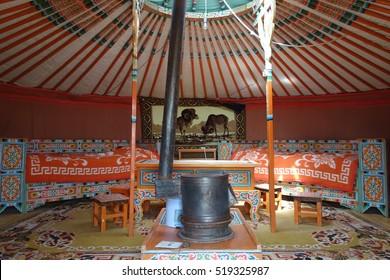Mongolia. Mongolian yurt inside.