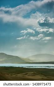 Mongolia. Sands Mongol Els dunes . Stormy dramatic sky