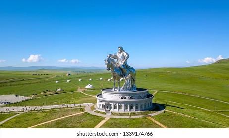 Mongolia, Ulaanbaatar - August 08, 2018: Equestrian statue of Genghis Khan in sunny weather. Mongolia, Ulaanbaatar, From Drone