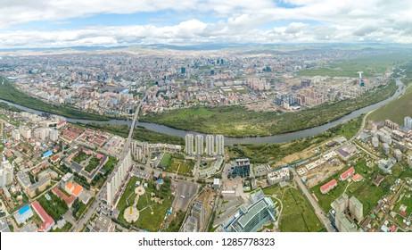 Mongolia, Ulaanbaatar. Panarama is the capital of Mongolia, the city of Ulaanbaatar. Aerial Photography