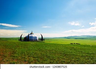 Mongolia yurts in the summer grassland of Hulunbuir, Inner mongolia, China
