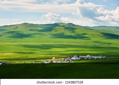 Mongolia yurts in the summer grassland of Hulunbuir, Inner mongolia, China