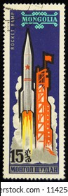 Mongolia-CIRCA 1965. Postage stamp released in Mongolia, Cosmonautics Day.
