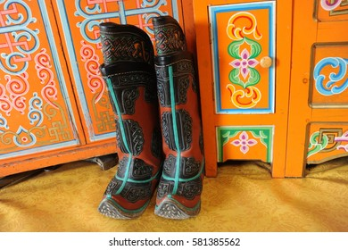 Mongolian boots in a nomad's yurt