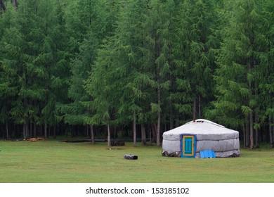 Mongolian ger camp at Khovsgol Lake.
