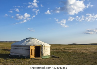 Mongolian Ger in the steppe Mongolia, Asia