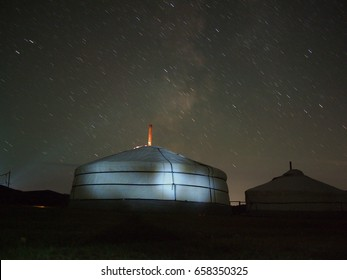Mongolian ger under a clear starry sky
