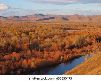 Mongolian landscape and river in Autumn colours