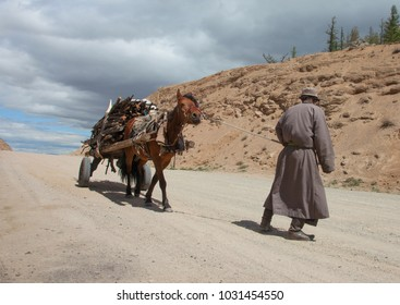 Mongolian man carries firewood home