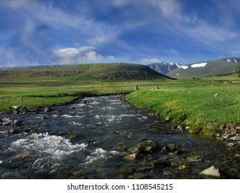 Mongolian mountain stream in the summe