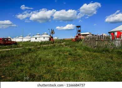Mongolian national customs landscape of Tongliao Xilin Gol grassland, Inner Mongolia, China