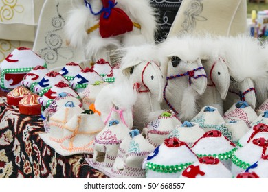 the Mongolian souvenirs from wool - yurtas and camels