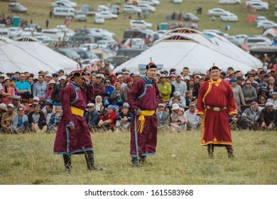 Mongolian traditional wrestling at the Nadaam festival of Bayan-Olgii Province. August 20, 2019