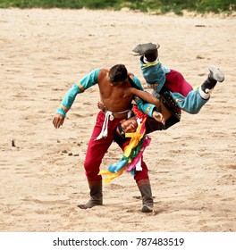Mongolian Wrestlers  This is ancient tradition of Mongolian wrestling.   When a boy is born in Mongolia, his family pray for him to become a wrestler.  Photo taken  on 21 Jun 2017  in Inner Mongolia