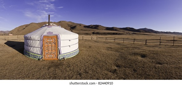 Mongolian yourt in steppe - panorama