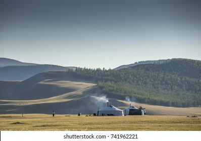 mongolian yurt, called ger,  in a landscape of northern mongolia