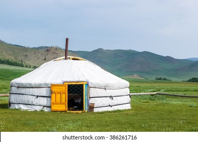 Mongolian yurt called a ger on grassy steppe of northern Mongolia