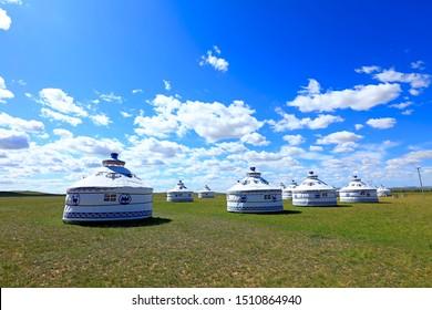 Mongolian yurt on the grassland
