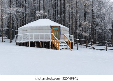 Mongolian Yurt in the snow mountain