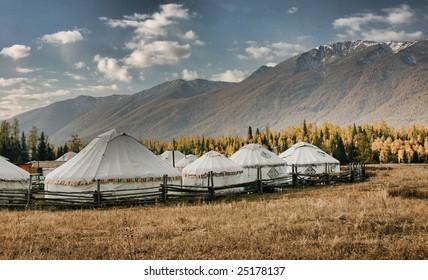 Mongolian Yurts by Kanas Lake, Xinjiang, China