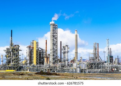 MONGSTAD, NORWAY - APRIL 22, 2017: Statoil Mogstad production facility. Statoil Mongstad is second largest oil refinery in Europe