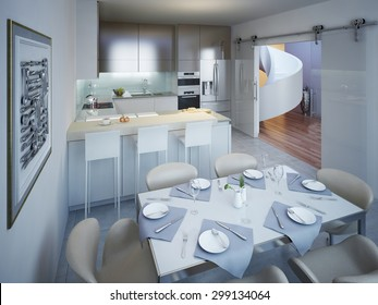 Monimalist kitchen with dining table trend. 3D render