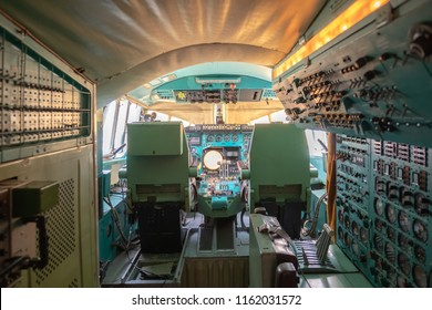 Monino, Moscow Region, Russia - August 19, 2018: The Russian Federation Central Air Force Museum, overview in pilot's cockpit of supersonic passenger airplane Tupolev Tu-144.