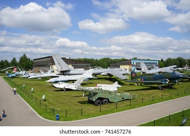 MONINO, MOSCOW REGION, RUSSIA - AUGUST 9, 2017 - The Russian Federation Central Air Force Museum featuring a Tupolev Tu-95 'Bear'