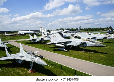 MONINO, MOSCOW REGION, RUSSIA - AUGUST 9, 2017 - The Russian Federation Central Air Force Museum featuring a Mikoyan, Mig-29 'Fulcrum' ,Mig-25 'Foxbat'