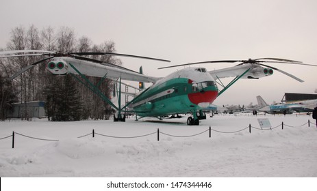 Monino, Moscow region, Russia. February 13, 2016. Heavy transport helicopter Mi-12 in the open air at the air force Museum in Monino