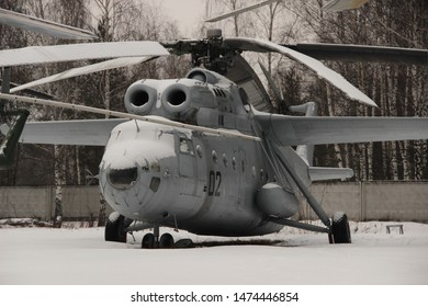 Monino, Moscow region, Russia. February 13, 2016. Heavy military transport helicopter Mi-6 in the open air at the air force Museum in Monino