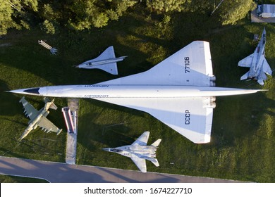 MONINO, MOSCOW REGION, RUSSIA - JULY 28, 2018: Tupolev Tu-144D supersonic soviet airliner displayed at Russian Federation Central Air Force Museum.