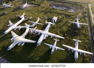 MONINO, MOSCOW REGION, RUSSIA - JULY 28, 2018: Various airplanes: An-22, IL-76, Tu-114, An-12, Li-2,An-26, An-10 displayed at Russian Federation Central Air Force Museum.