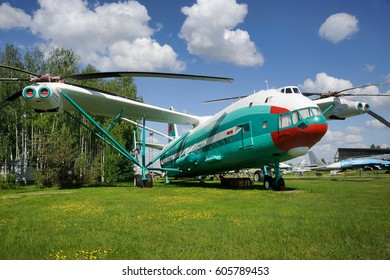 """MONINO, MOSCOW REGION, RUSSIA - June 06, 2013 Heavy transport Helicopter Mil V-12 """"Homer"""" (1967). The first and only two - rotor transverse scheme helicopter in Central Museum of Aviation in Monino"""