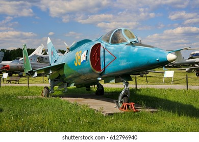 """MONINO, MOSCOW REGION, RUSSIA - June 06, 2013 Carrier Based Aircraft Yak-38 (1972) (NATO reporting name """"Forger"""") in Air Force Museum in Monino. Ship strike aircraft with vertical take-off and landing"""