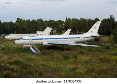 MONINO, MOSCOW REGION, RUSSIA - SEP. 19, 2018: Tupolev Tu-104 46 RED of Russian Air Force displayed at Russian Federation Central Air Force Museum.