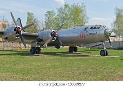 "MONINO, RU - MAY 9: Tupolev Tu-4 ""Bull"", the reverse-engineered copy of B-29 ""Superfortress"" bomber plane, is displayed in the Central Airforce Museum on May 09, 2013 in Monino, RU"