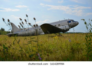 Monino,Moscow region,Russia,July 5,2018: Li-2 aircraft in central airforce museum in Monino