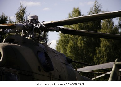 Monino/Russia - 06.12.2018: The blades of old military helicopter closeup