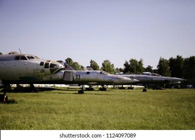 Monino/Russia - 06.12.2018: Jet military planes at museum